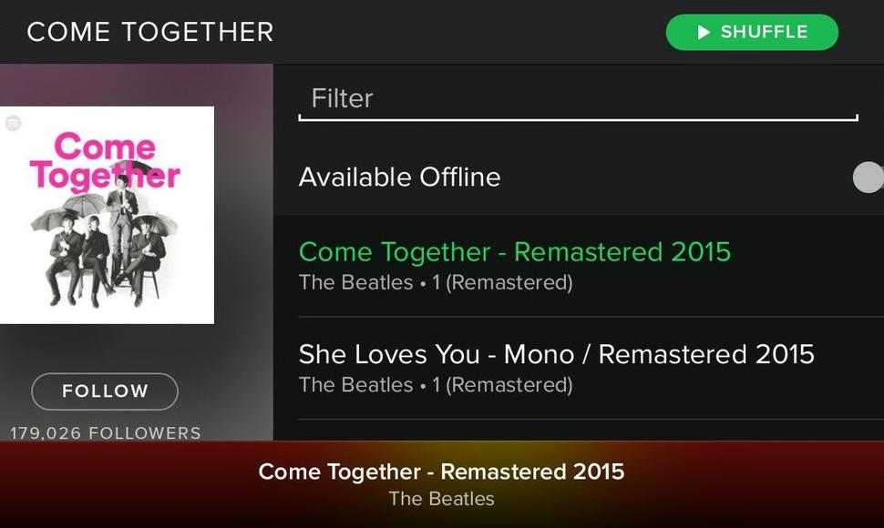 "Vista de la Playlist ""Come Together"" en Spotify."