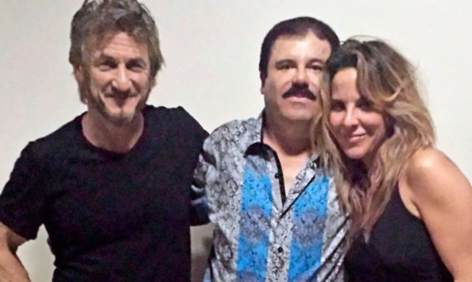 Sean Penn, Joaquín Guzmán y Kate del Castillo. FOTO THE NEW YORKER