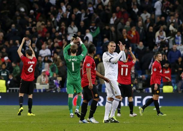 Partido de ida de los Octavos de final de la UEFA Champions League entre el Real Madrid y el Manchester United. AFP / END