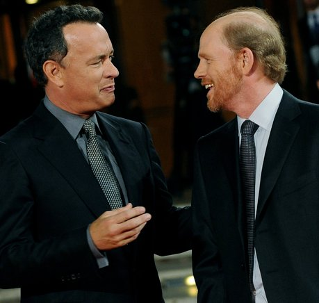El protagonista de la película, Tom Hanks, junto al director, Ron Howard. AFP