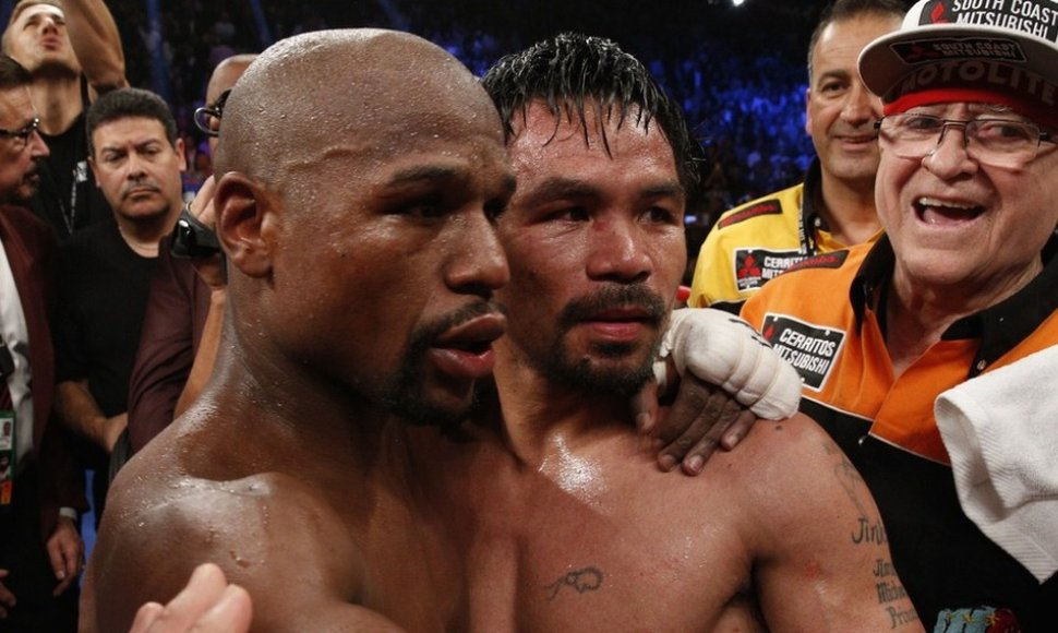 Floyd Mayweather junto a Manny Pacquiao