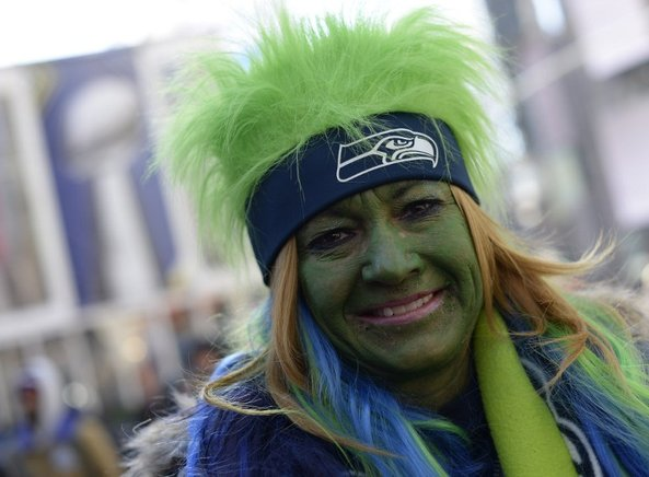 Un fan de Seattle en el Super Bowl. AFP / END