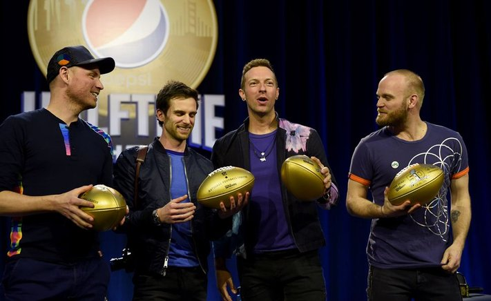 La banda británica Coldplay ofreció una conferencia de prensa en el Super Bowl Halftime Show en Moscone Center West en San Francisco, California (Estados Unidos). Coldplay se presentará durante la mitad del juego entre AFC Champion Denver Broncos y NFC Champion Carolina Panthers.