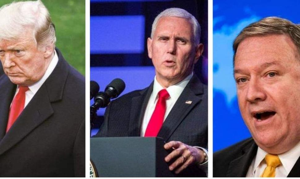 Donald Trump, Mike Pence y Mike Pompeo.