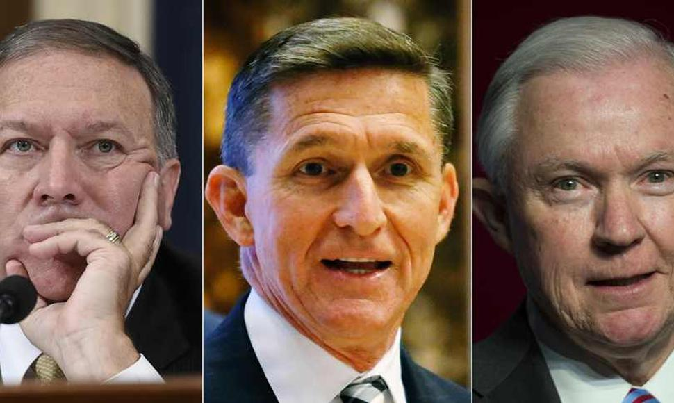 Mike Pompeo, Michael Flynn y Jeff Sessions.