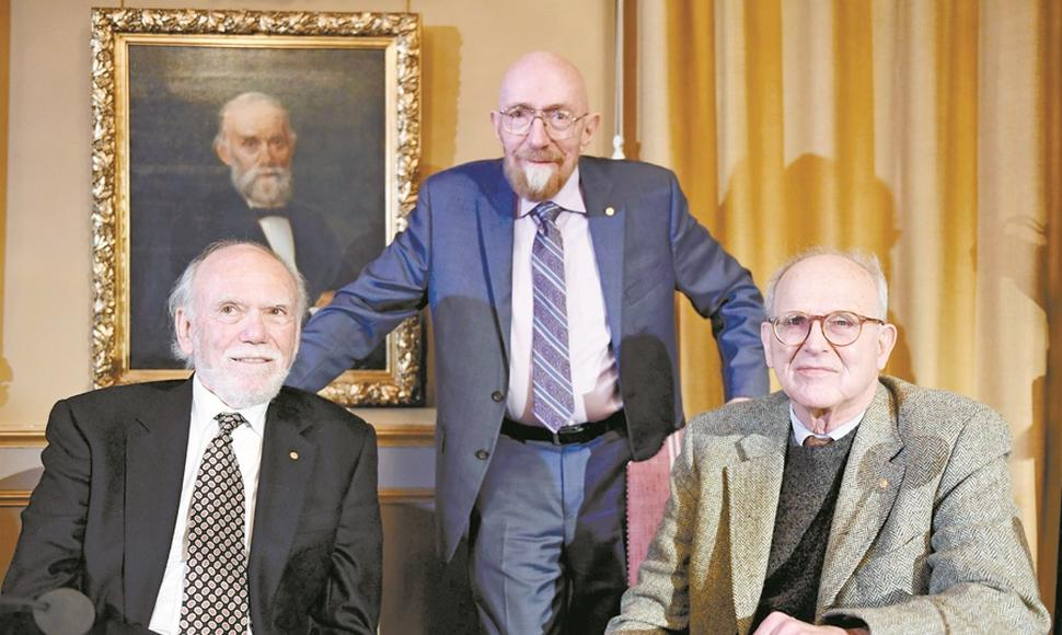 Ganadores del Nobel de Física 2017, Barry C. Barish, Kip S. Thorne y Rainer Weiss,